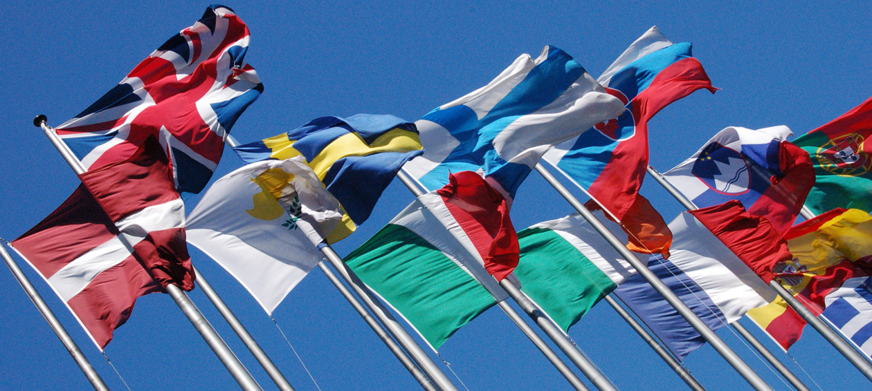 Flags of European Union member countries. Photo by James Diewald https://www.flickr.com/photos/conarcist/