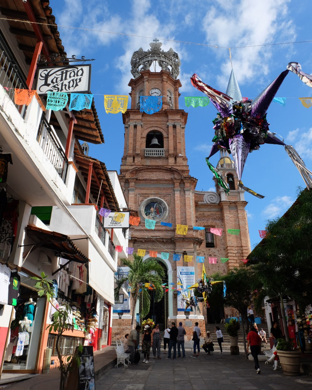 Puerto Vallarta's cathedral - the piñatas and flags are for Christmas