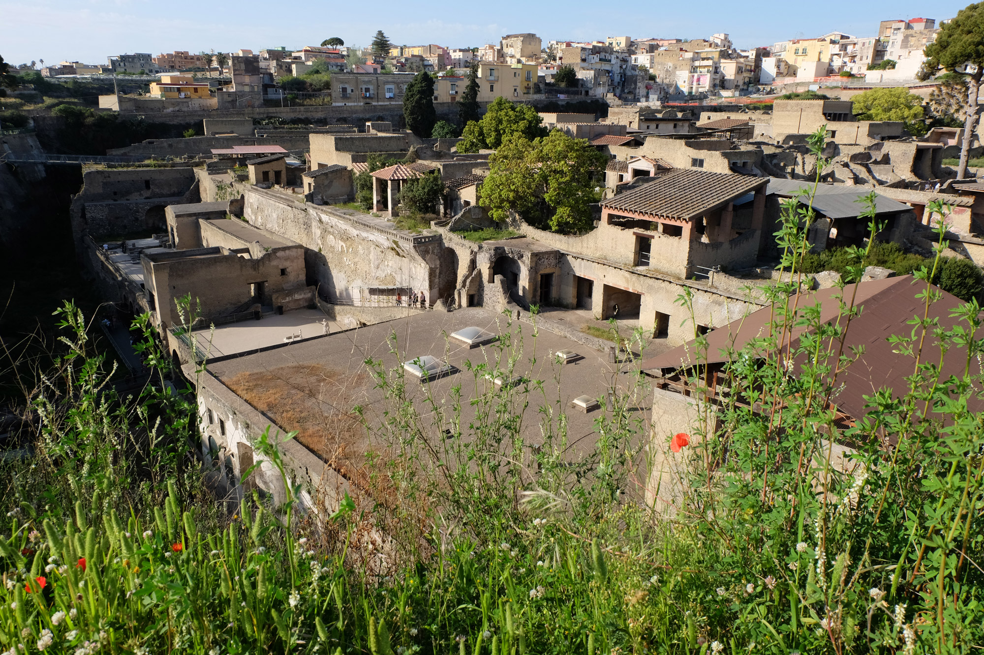 Herculaneum from ground level in the modern-day town