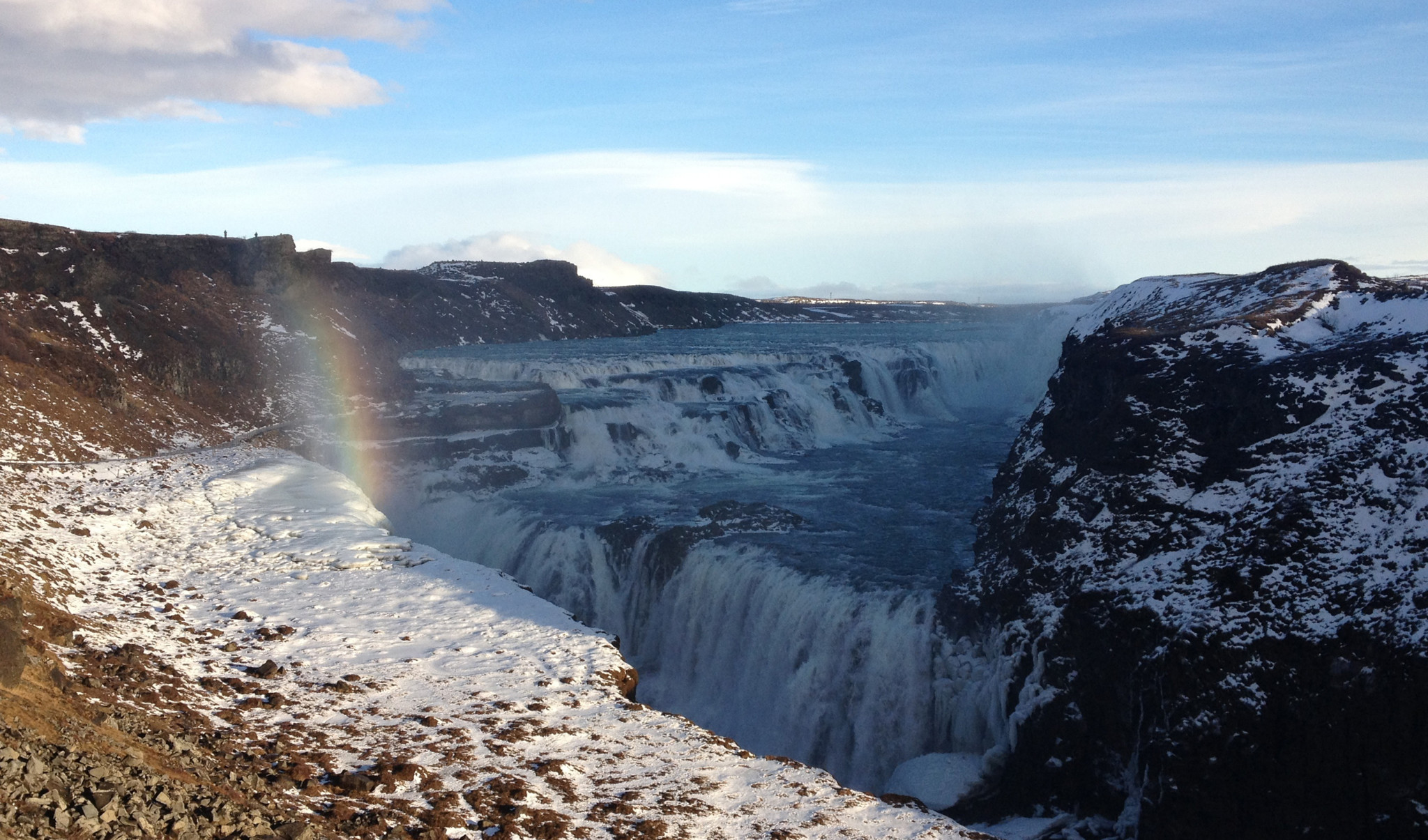 A rainbow over Gullfoss in Iceland