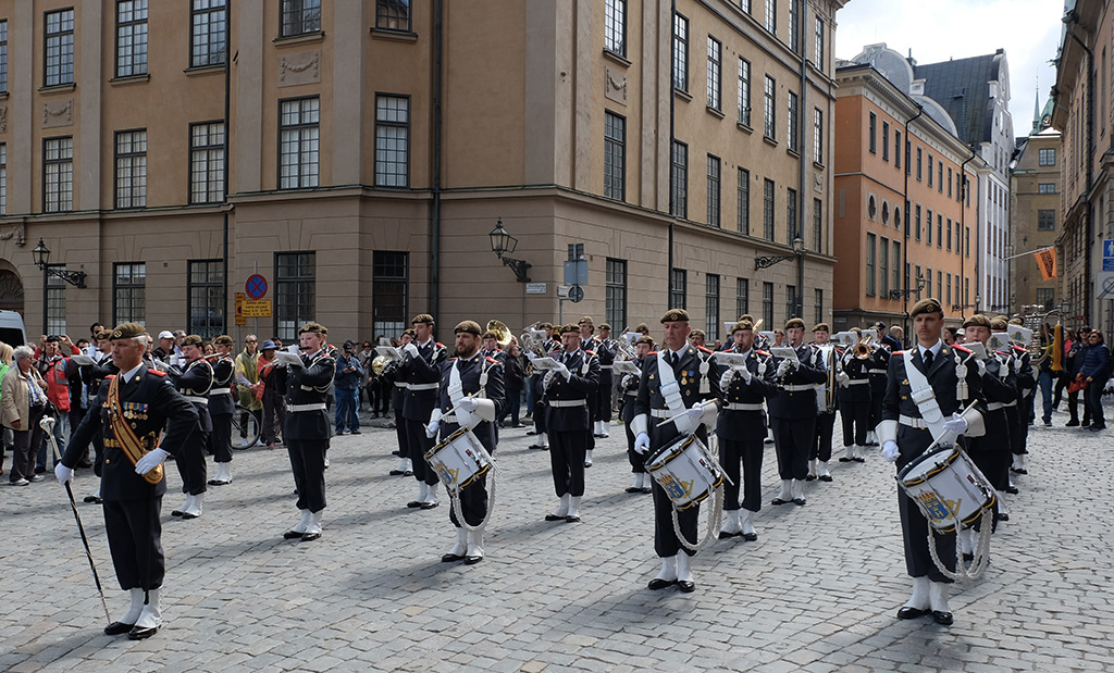 A military band playing outside the Royal Palace in Stockholm