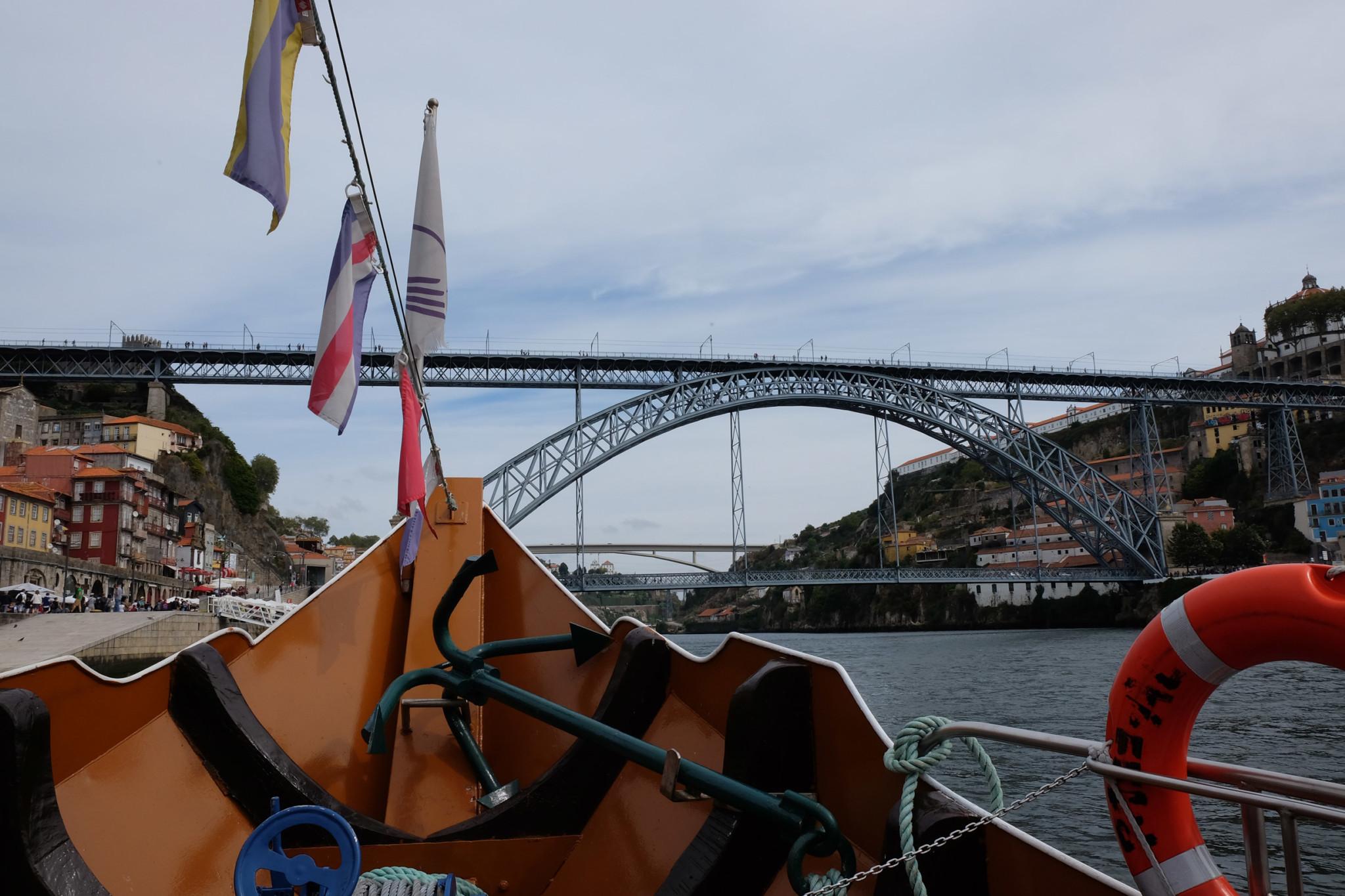 Boat trip on the Douro river under the six bridges of Porto