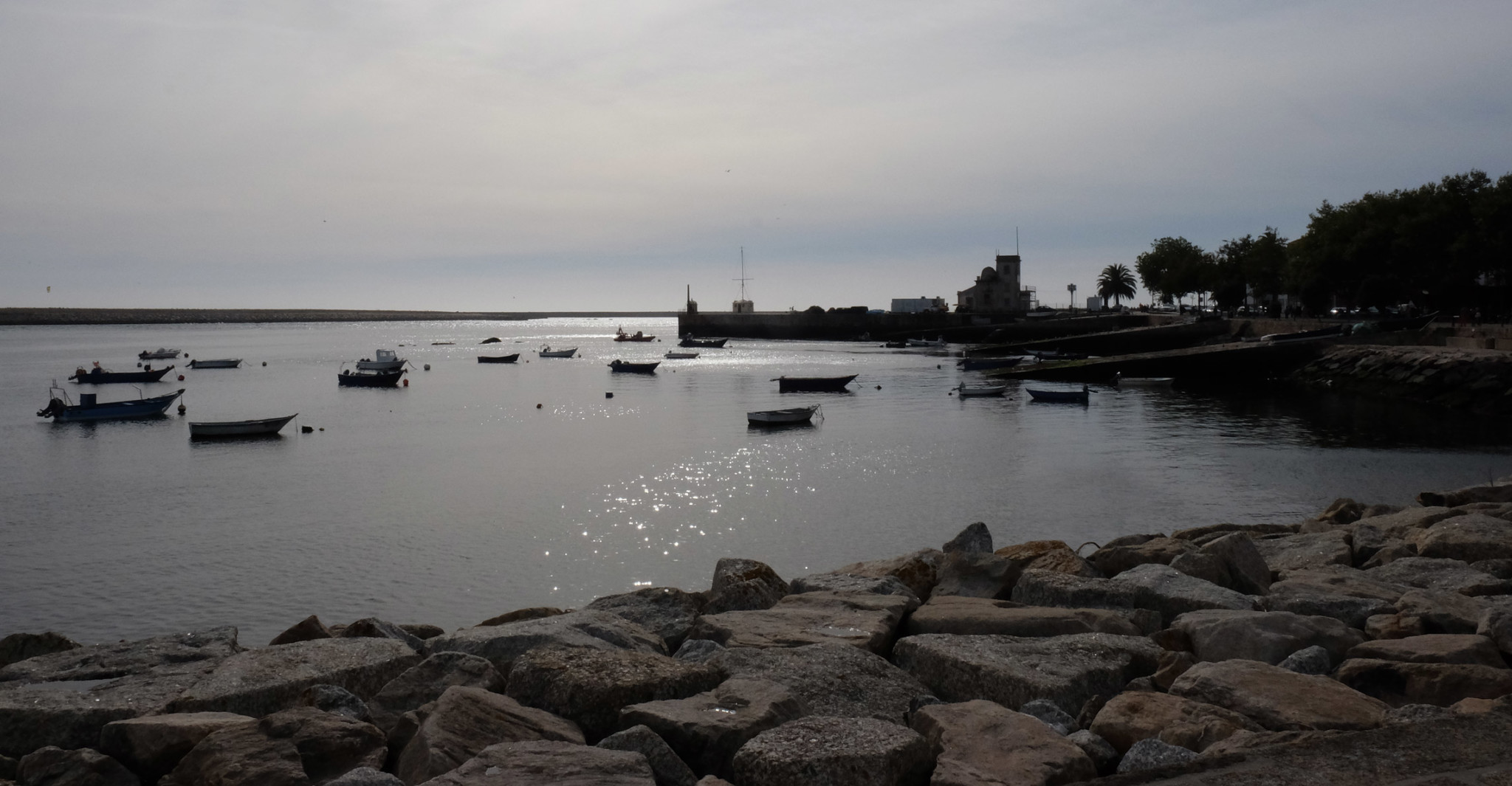 Boats in the estuary at Foz