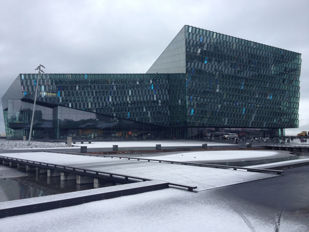 The Harpa concert hall on Reykjavik's waterfront