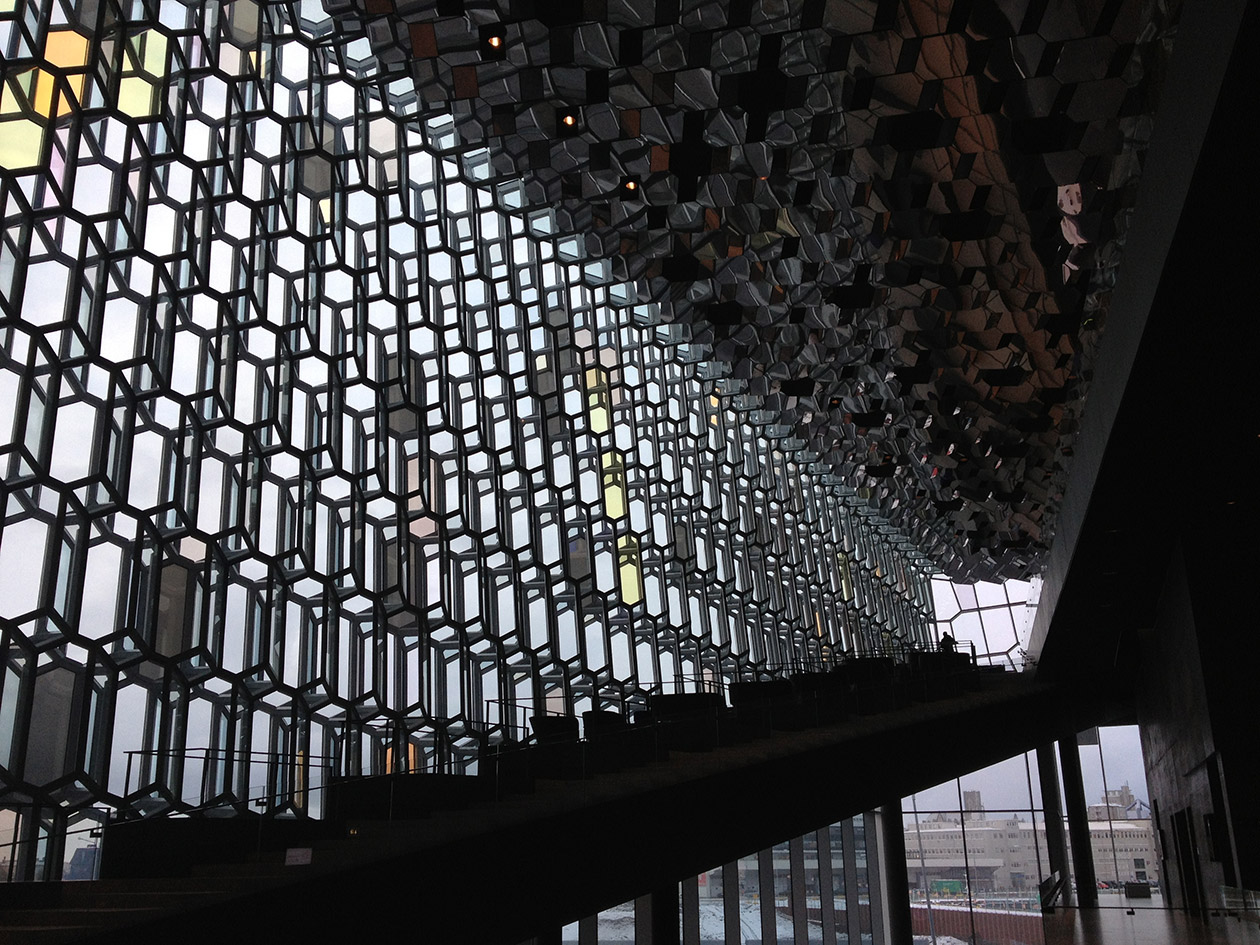 The walls of the Harpa concert hall are made of thousands of panes of glass