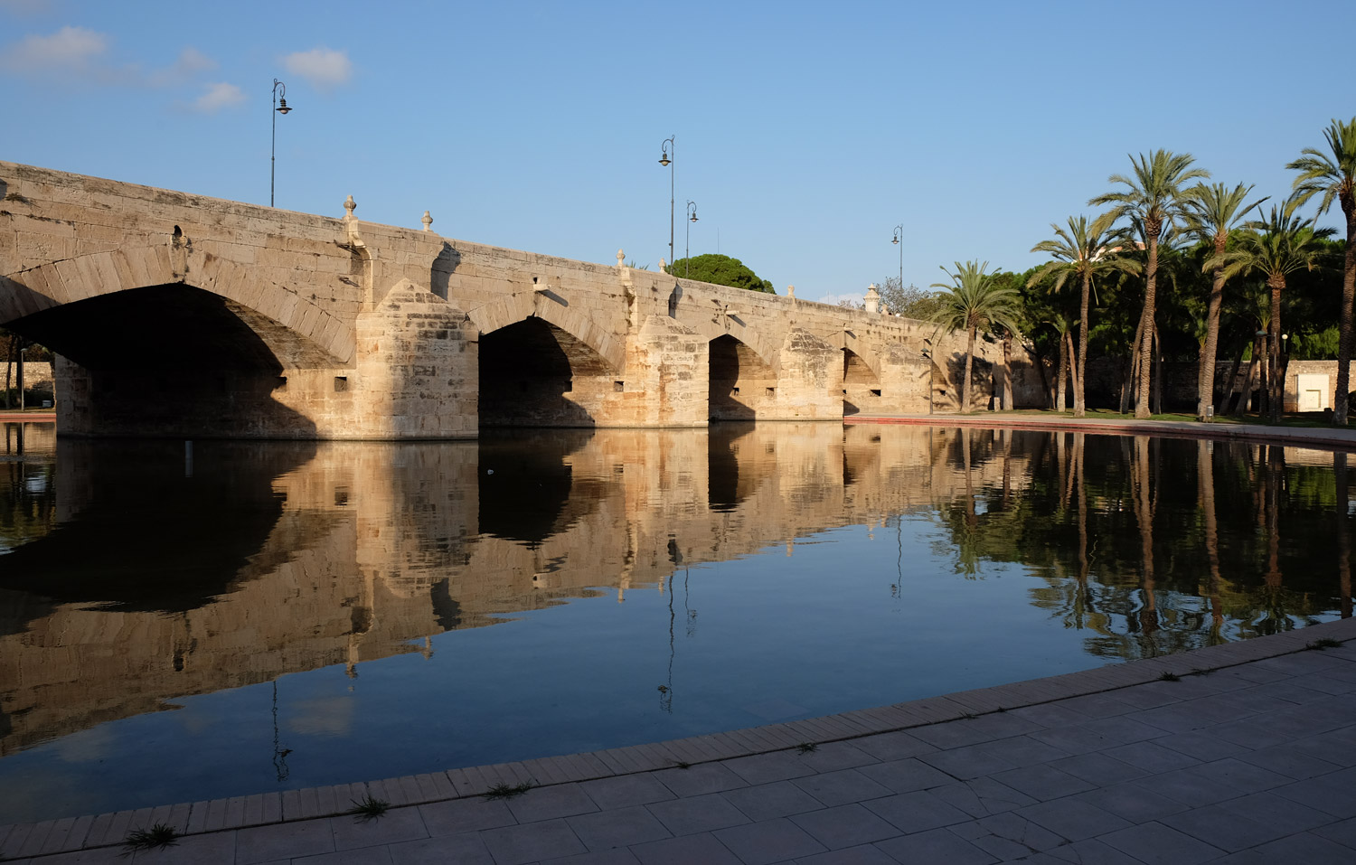 One of the old bridges that used to cross the River Turia - now a park running through the city