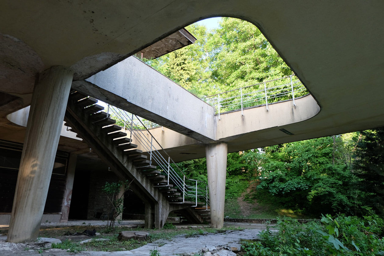 An abandoned hotel at the Plitvice Lakes National Park