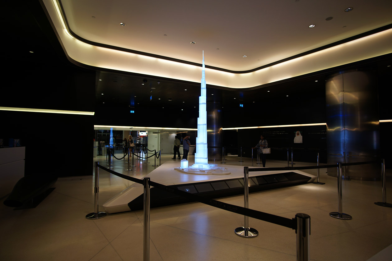 A model of the Burj Khalifa at the entrance to the At The Top observation deck