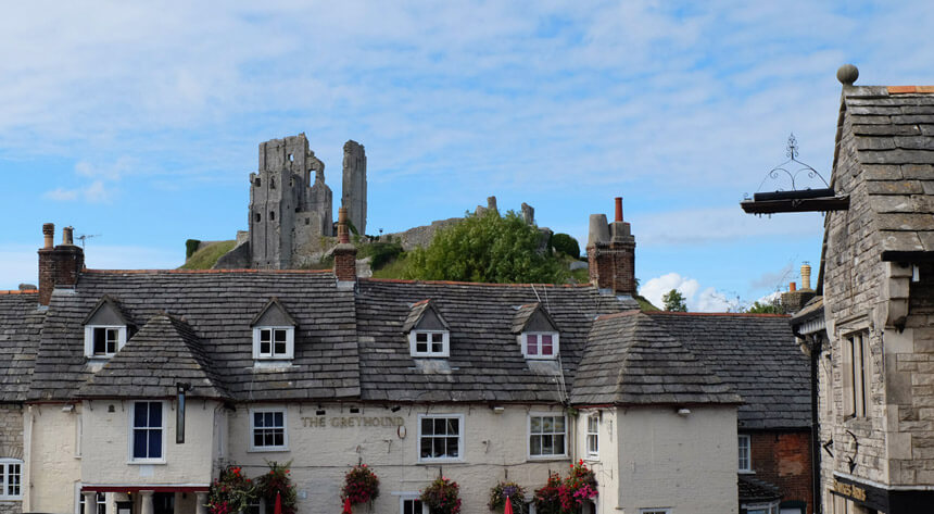 Corfe Castle from the lovely marketplace
