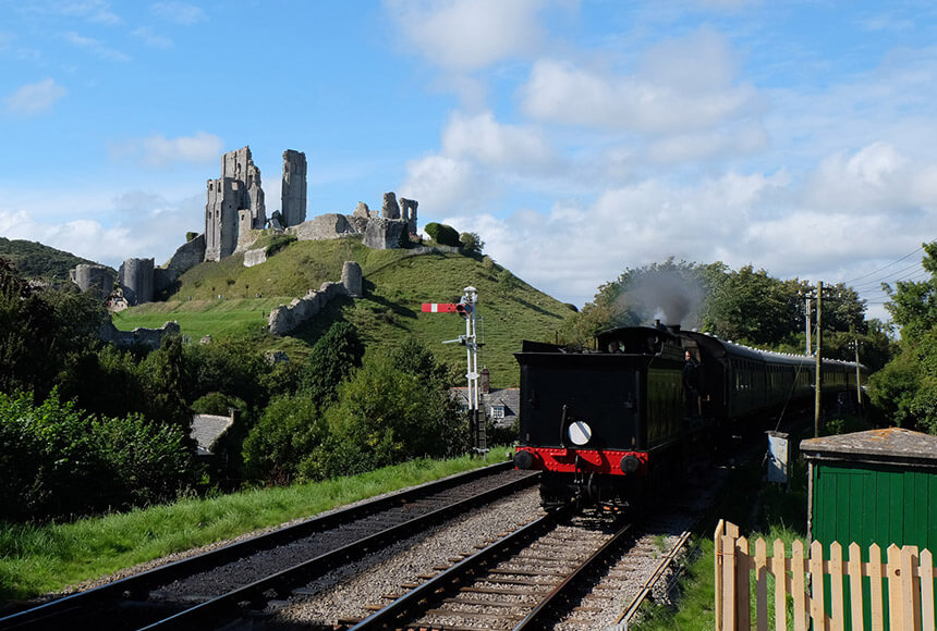 Corfe Castle station on the preserved Swanage Railway