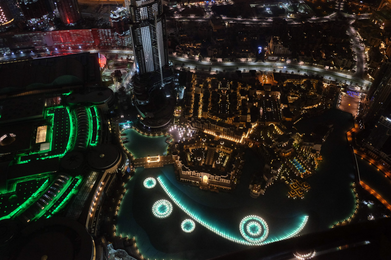 Looking down onto the Dubai Fountains from the top of the Burj Khalifa