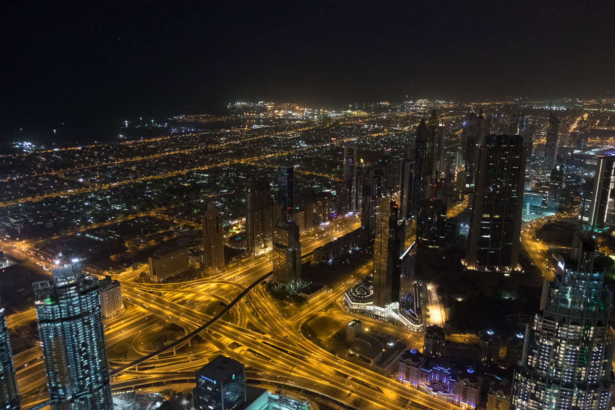 High above the skyscrapers of Sheikh Zayed Road