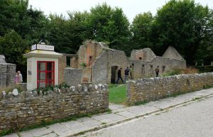 The ruined post office at Tyneham ghost village