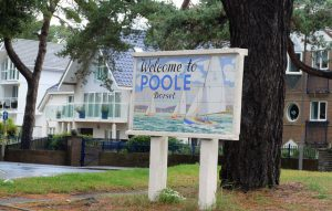 A welcome to Poole sign in Sandbanks