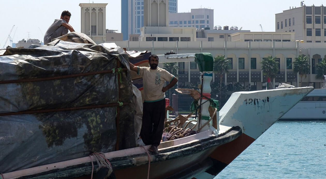 The crew of a dhow waiting to set off