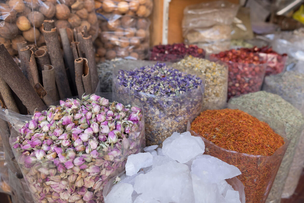 Bags full of fragrant spices in the Spice Souk
