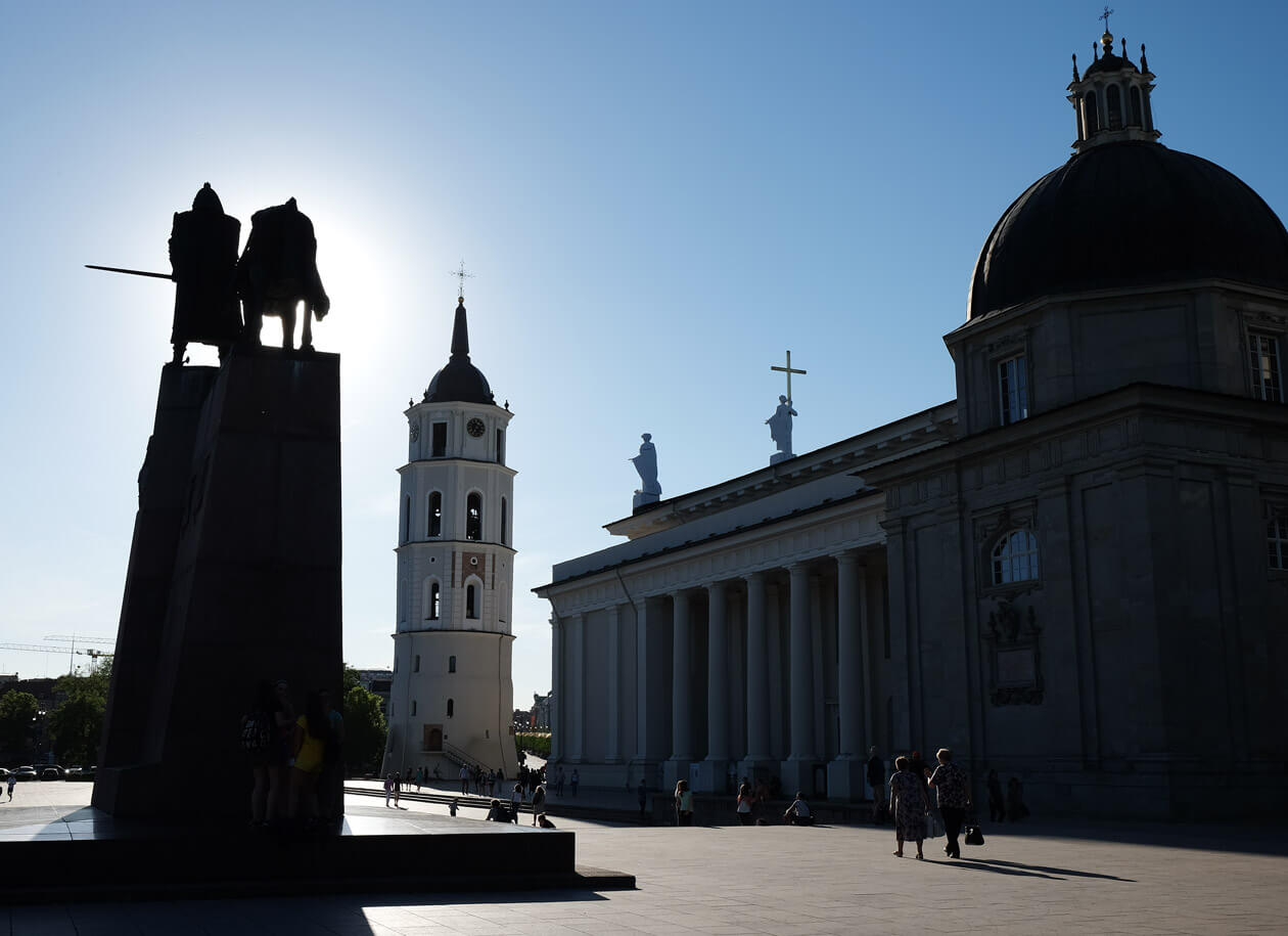 Cathedral Square in the evening on our last day in Vilnius