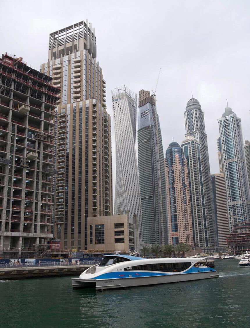 The spaceship-like water bus arriving at Dubai Marina