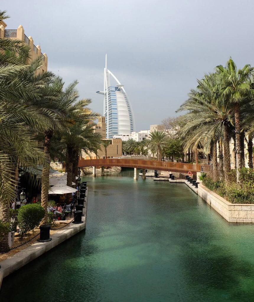 See the Burj Al Arab from the bridges of the watery Souk Madinat Jumeirah