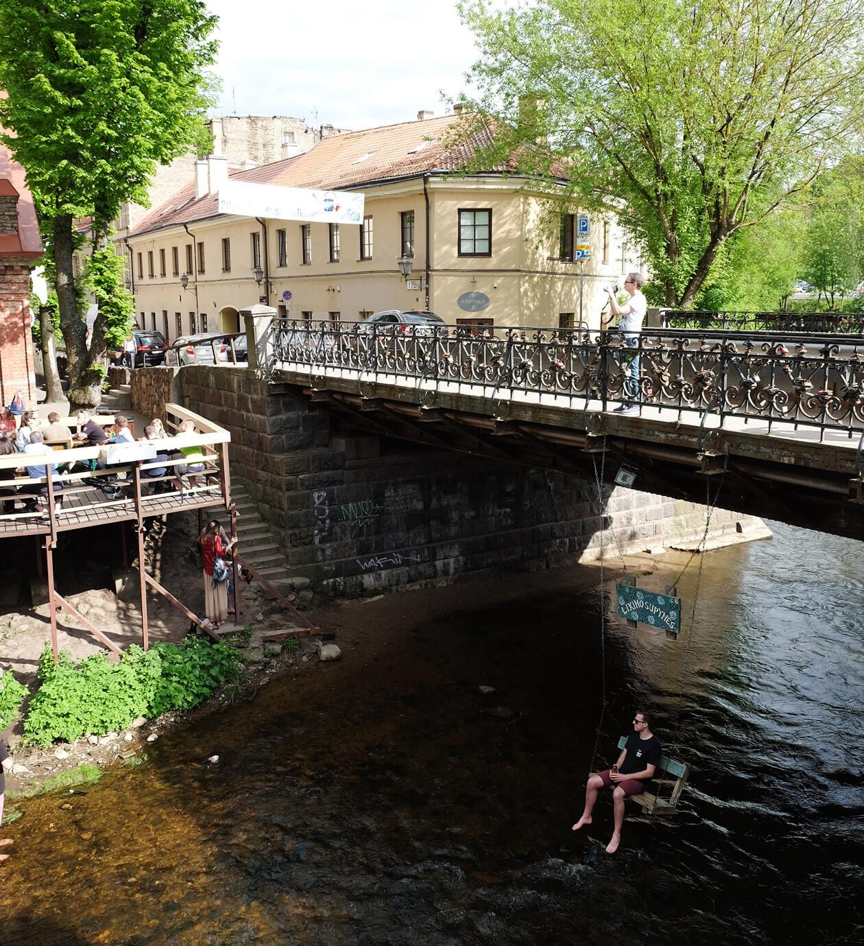 The secret swing under the bridge leading into Uzupis