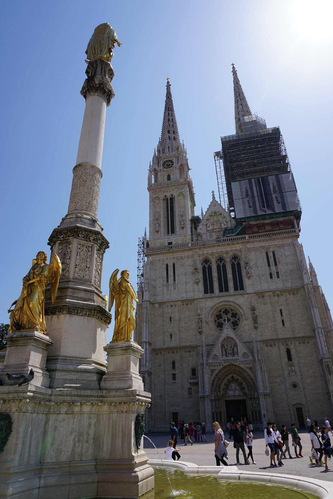 Zagreb Cathedral and the Holy Mary Monument