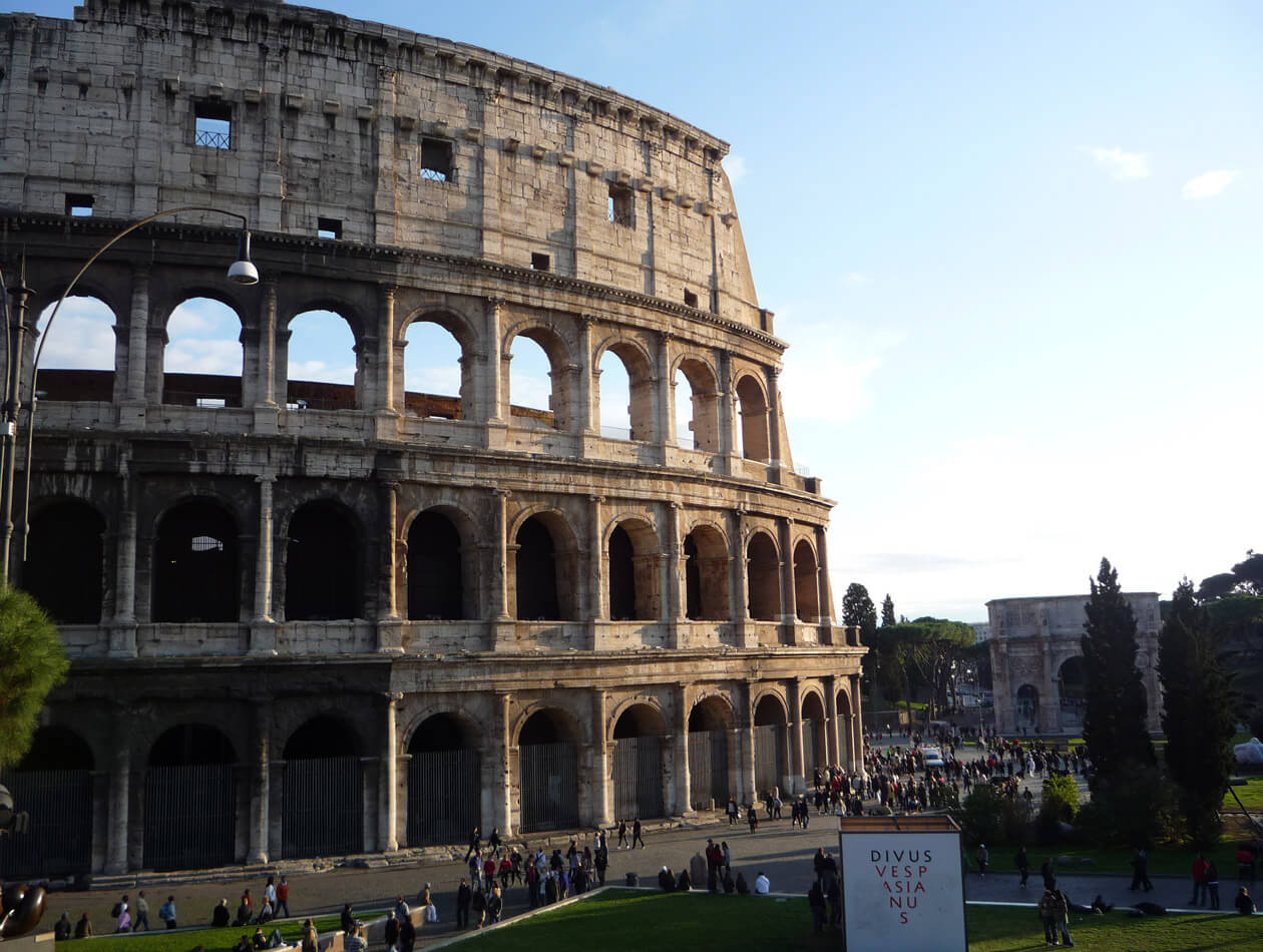 The Colosseum in Rome on the first leg of our open jaw trip to Italy