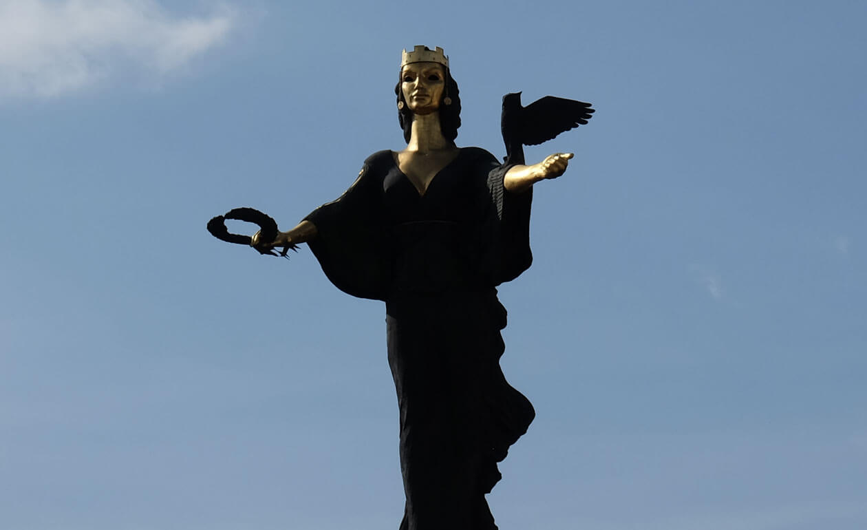 The Saint Sofia statue stands on a column once occupied by a statue of Lenin