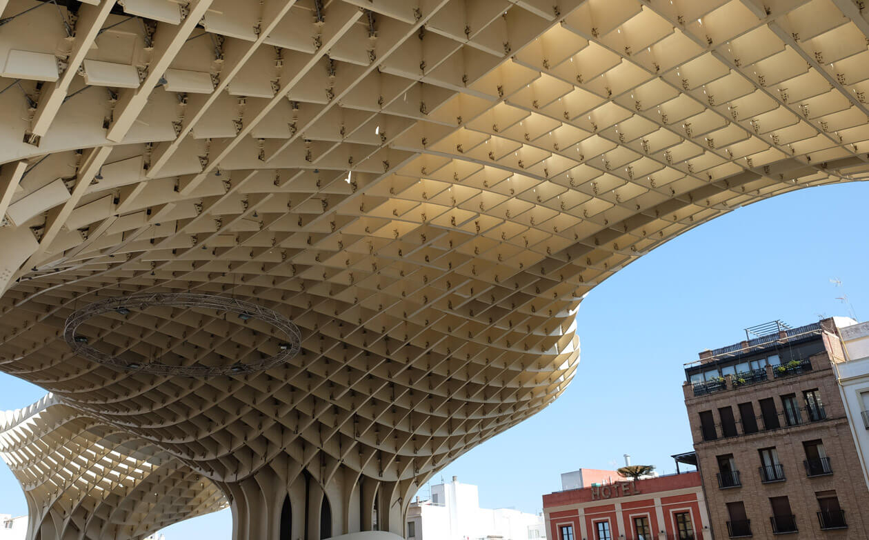 Underneath the Metropol Parasol, the largest wooden structure in the world