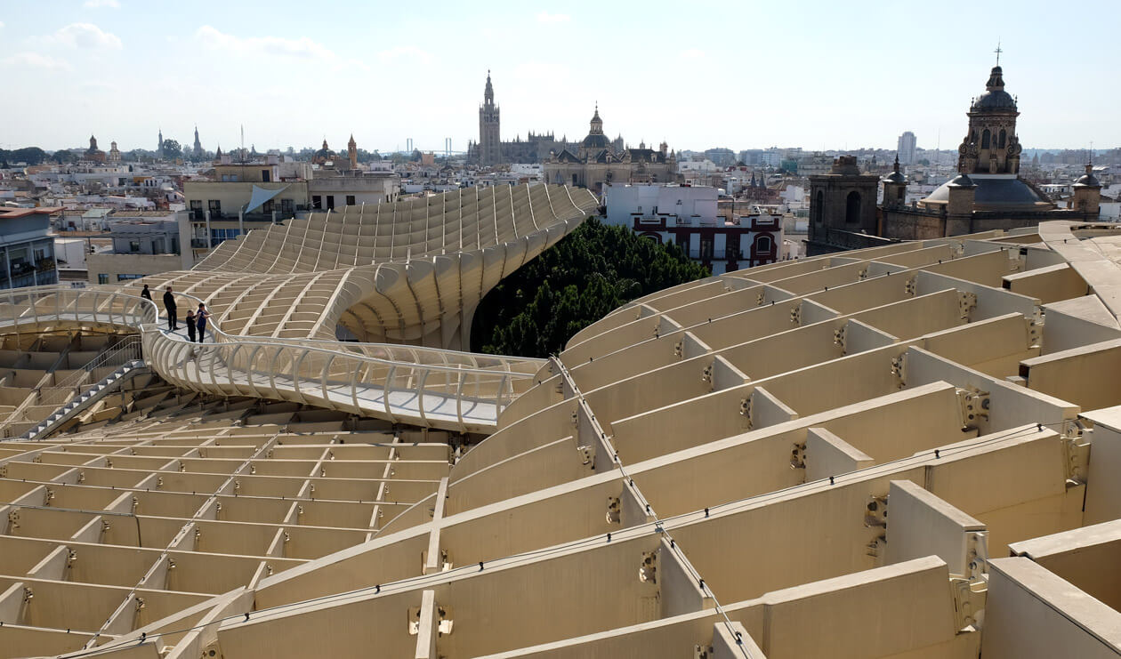The rooftops of Seville from the Metropol Parasol walkways