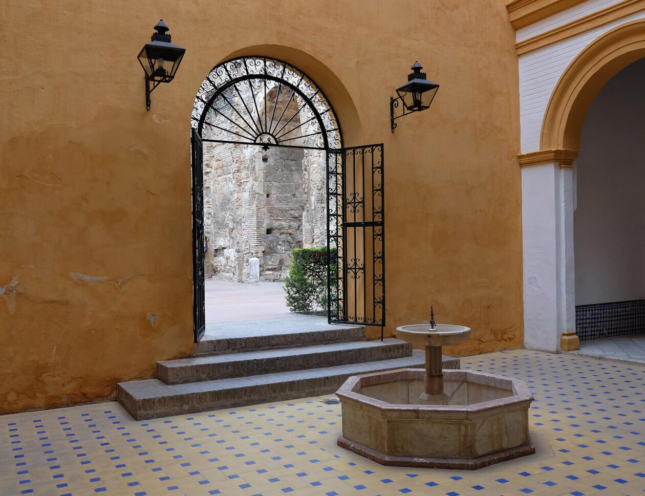 A shady courtyard in the Real Alcázar