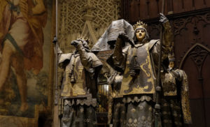 The tomb of Christopher Columbus inside Seville Cathedral