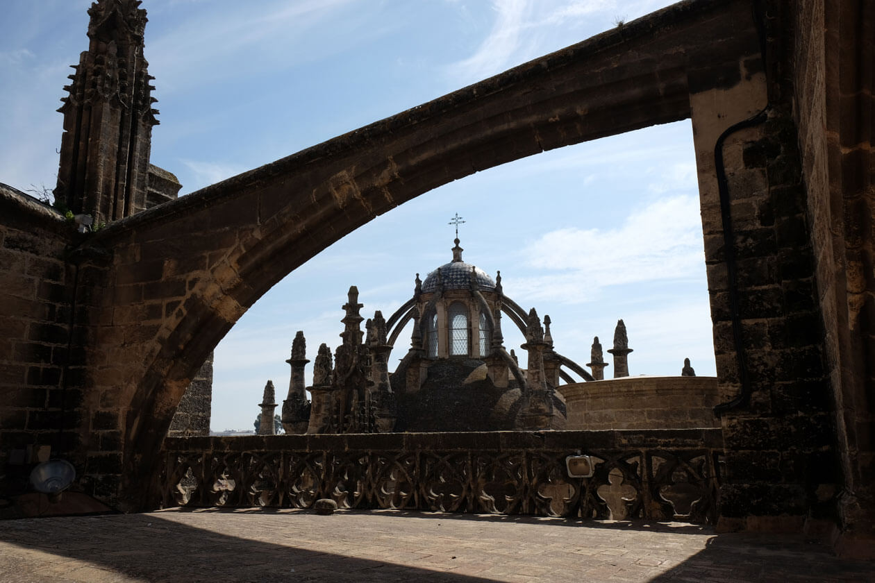 Delicate-looking flying buttresses on the roof of Seville Cathedral
