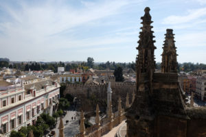 Looking down at the walls of the Real Alcazar palace and gardens from the roof of Seville Cathedral