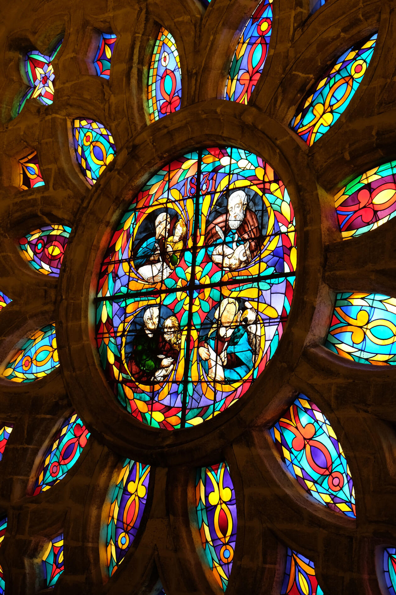 The huge and beautiful stained glass window was incredibly vivid close up