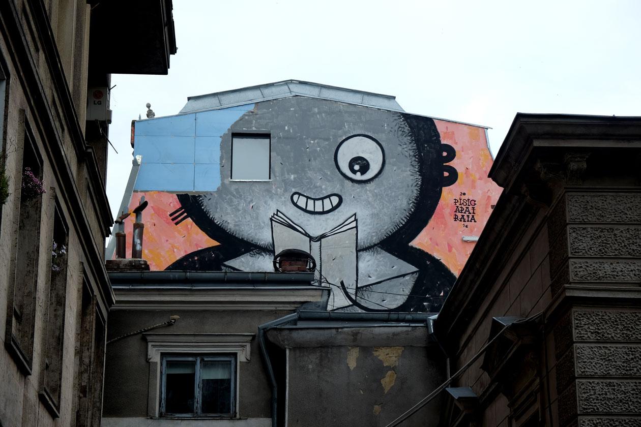 Bookworm street art on the roof of Carturesti Verona