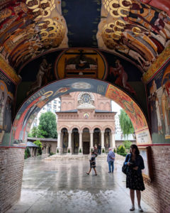Admiring the gorgeous murals at Antim Monastery. The rest of the buildings in this area were demolished to make way for Ceaușescu's vision for a new Bucharest