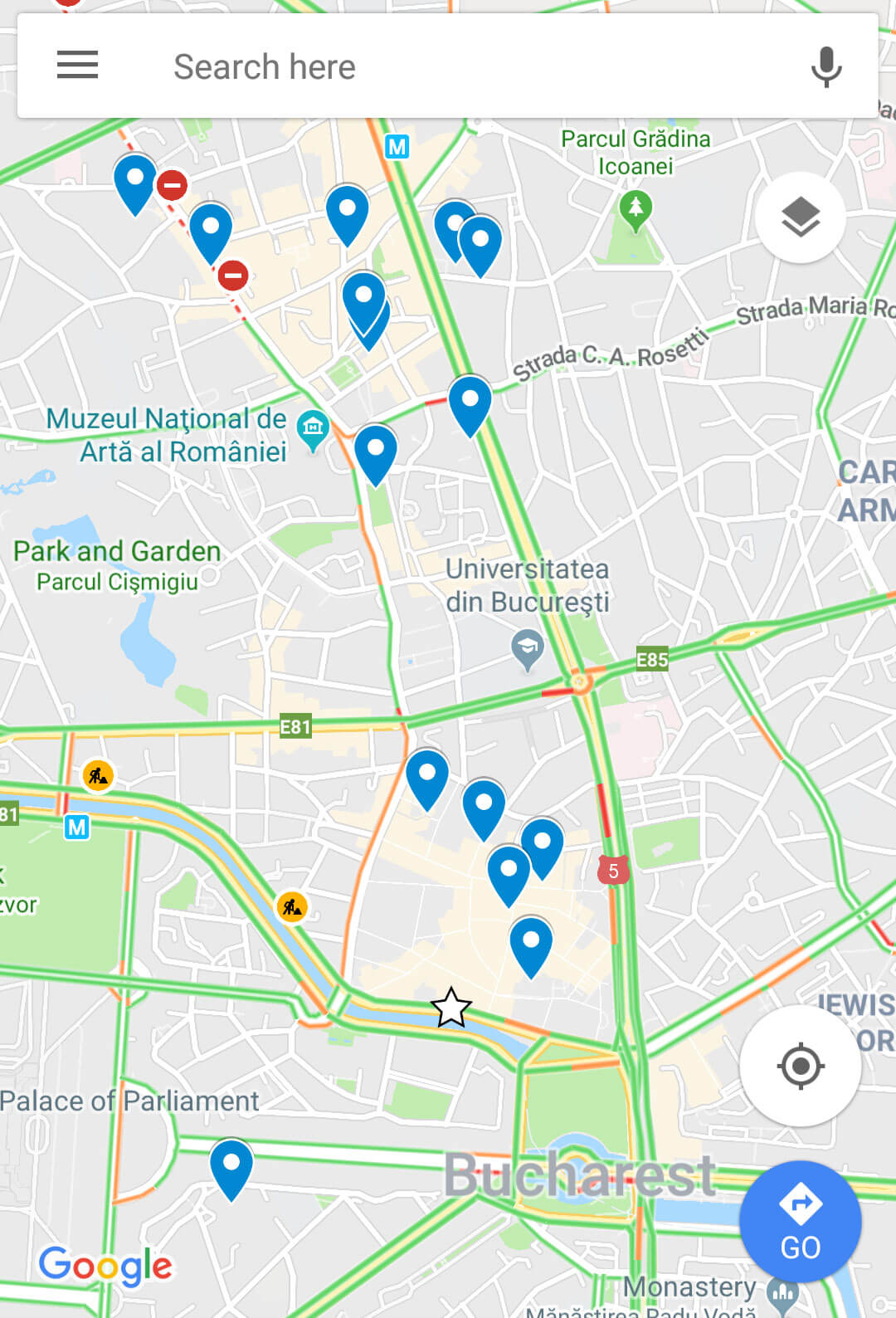I love to make custom Google Maps before a trip. This map of Bucharest's key city centre sights makes them look spread out but in reality it's an easily walkable city.