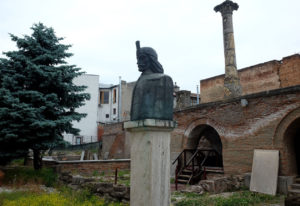 The Old Princely Palace, Bucharest, and the statue of Vlad III (AKA Vlad the Impaler)