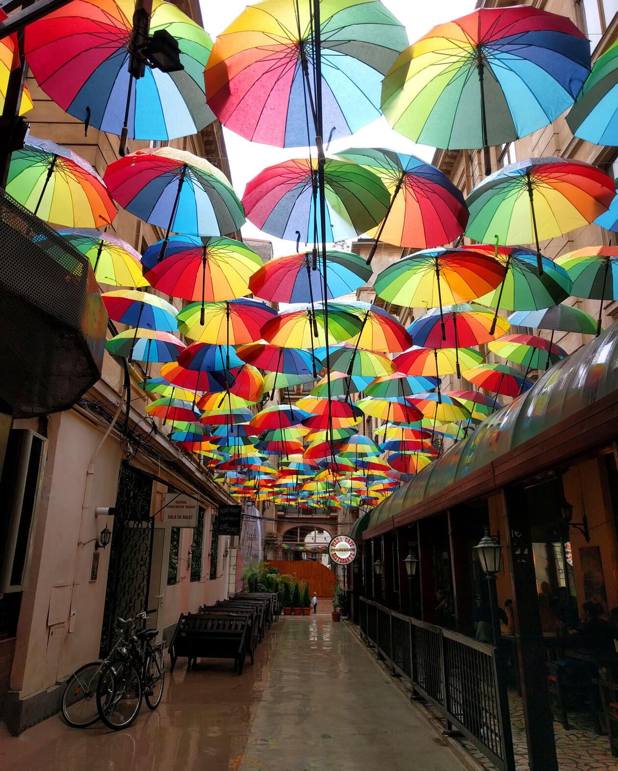 Umbrella street inside Pasajul Victoria