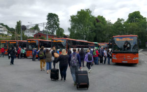 Norway in a Nutshell buses waiting at Voss