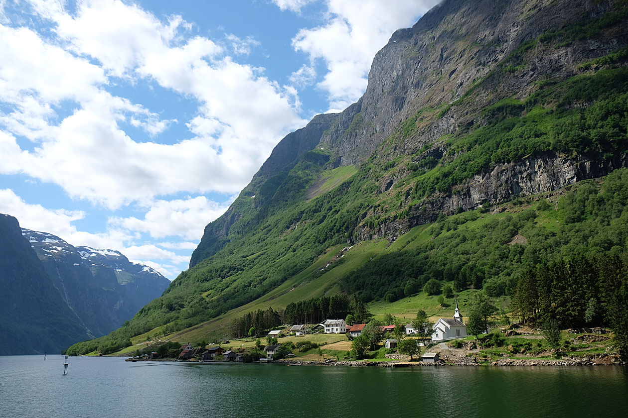 The quaint village of Dyrdal with its pretty white church is one of the must beautiful parts of the Nærøyfjord