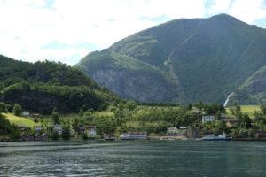 Arriving in Flåm on a boat tour of the Aurlandsfjord
