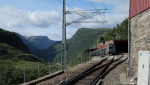 The Flåm Railway train setting off back down the line to Flåm from Myrdal. Check out that gradient!