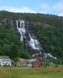 An enormous waterfall, seen from the bus from Voss to Gudvangen