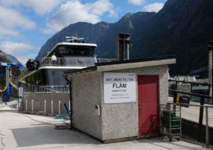 Getting on the fjord cruise at the port in Gudvangen