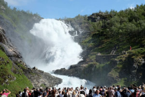 The magnificent Kjossfossen is the single most impressive sight on the Flåm Railway