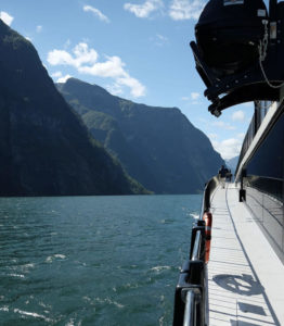 On deck for the fjord cruise. Our Norway in a Nutshell experience included a trip on the beautiful and cleverly-designed premium boat