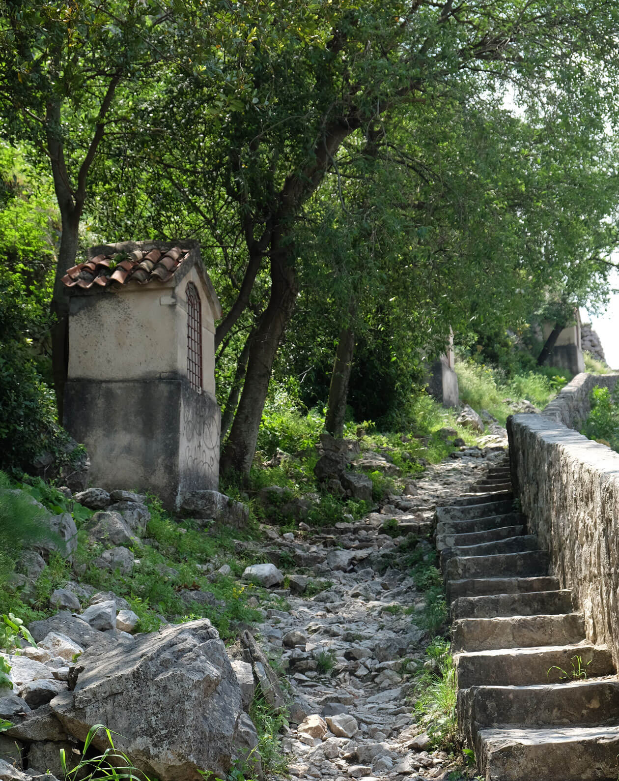 The path up to the church and fortress is beautiful but in a poor condition