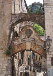 A decorative archway in Kotor old town