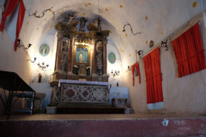 Inside the tiny church, halfway up the mountain